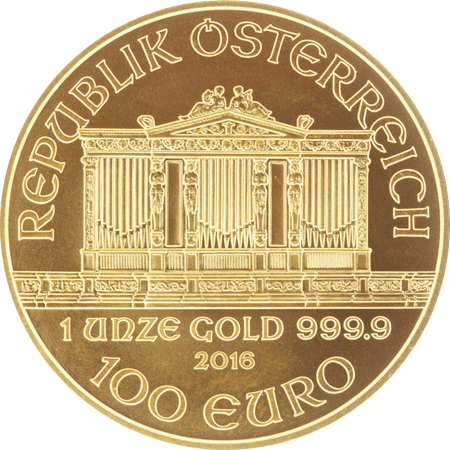Gold Philharmonic coin 1 oz - Obverse